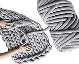 Light Grey 5 lbs 135 Yards Super Soft Washable Bulky Giant Hand Crochet Jumbo Fat Vegan Cotton Tube Arm Knitting Yarn for Chunky Braided Knot Throw Blanket DIY