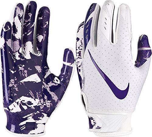 Nike Boy's Vapor Jet 5.0 Adjustable Wrist Closure Football Gloves (White/Purple/Medium)