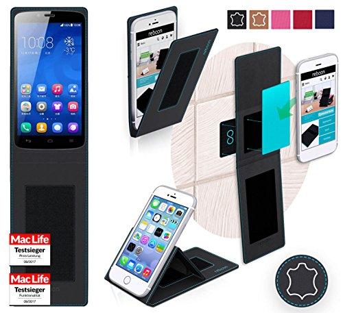 reboon Hülle für Huawei Honor 3C Play Edition Tasche Cover Case Bumper | Schwarz Leder | Testsieger