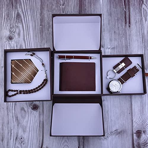 ZLDGYG Regalo del Día del Padre Nueva Personalidad Creativa Caja de Regalo para Hombre Reloj Corbata Cartera Llavero Bolígrafo 6 unids/Set Regalo de Regalo (Color : Brown)