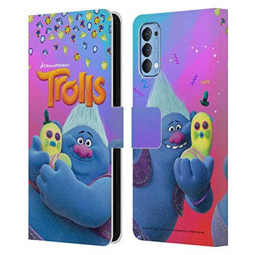 Head Case Designs Oficial Trolls Biggie & Mr. Dinkles Pack Snack Carcasa de Cuero Tipo Libro Compatible con OPPO Reno 4 5G