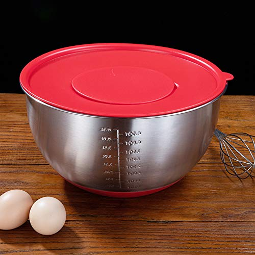 Stainless Steel Mixing Bowl with Scale + Lid Set Non Slip Silicone Base Bowl for Beat Eggs Red Egg Bowl + Cover Inner Diameter 20cm