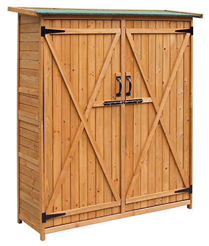 Merax Wooden Outdoor Garden Shed with Fir Wood Medium Storage Shed Lockable Storage Unit with Double Doors, Natural Color