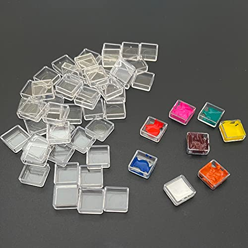Fclub Plastic Empty Watercolor Transparent Clear Paint Pans - 100pcs Mini Pans Watercolor Empty