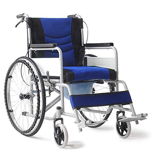 LLS Autopropulsado Silla de Ruedas - Tubo de Acero Espesado Plegable de 3 Piezas con Inodoro para el Anciano para discapacitados Scooter Silla de Ruedas Estabilidad confiable (Size : #6)