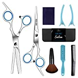 Sirabe 9 PCS Hairdressing Scissors Kits Stainless Steel Hair Cutting Shears Set Thinning/Texturizing Scissors Bang Hair Scissor Professional Barber/Salon/Home Shear Kit For Men Women Pet