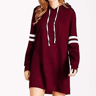 VESKRE Women's Winter Pullover Dresses Fashion New Long Sleeve Hoodie Long Sweatshirt Jumper