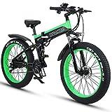 HUAKAI Bici Elettrica Pieghevole da 26',Mountain Bike Elettrico Fat Bike Ebike 1000w 48v 13ah...