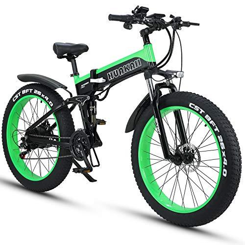 HUAKAI Bici Elettrica Pieghevole da 26',Mountain Bike Elettrico Fat Bike Ebike 1000w 48v 13ah (Verde)