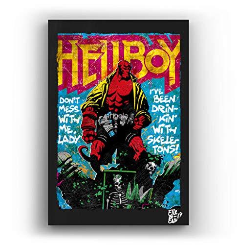 Hellboy, Dark Horse Comics - Pintura Enmarcado Original, Imagen Pop-Art, Impresion Poster, Impresion en Lienzo, Cuadro, Comics, Cartel de la Pelicula