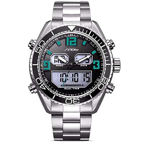 REYUAN Relojes del Reloj Digital for los Hombres, Deportes Reloj de Cuarzo Digital electrónica de LED Impermeable Militar Cronógrafo Fecha Reloj, Minimalista Relojes Correa de Acero (Color : D)