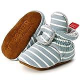 Unisex Newborn Baby Cotton Cozy Fleece Booties Non-Slip Sole for Toddler Boys Girls Infant Winter Warm Fleece Socks First Walker Crib Shoes (C-Stripe Blue, 0-6 months)