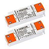 SEBSON® 2x Transformador 12V 220V, 15W Driver LED extraplano 102x35x16mm - Tensión Constante para Lámparas LED GU4 MR11 MR16