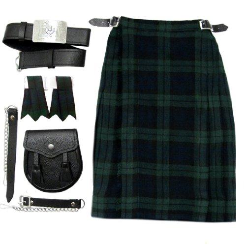 Black Watch Boys Kilt Kit/Outfit With Kilt, Sporran Belt & Flashes Age 5-6