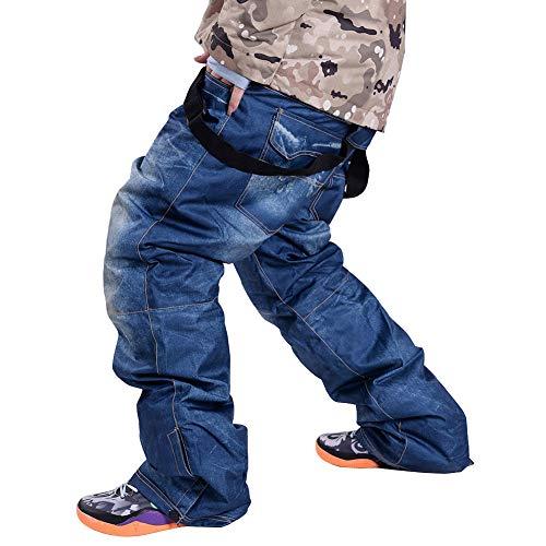 Homieco Pantaloni da Sci Pantaloni di Sci di Suspenders Unici di Denim Pantaloni Sportivi Traspiranti Impermeabili di Sci e Snowboard