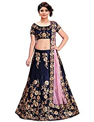 KEDARFAB Womens Embroidered Taffeta Silk Lehenga Choli with Blouse Piece (Navy Blue, Free Size)