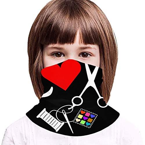 Cubierta protectora de la toalla de la cara de los niños con 2 filtros amor tijeras hilo de aguja 3d impreso Sunproof transpirable cuello bufanda para uso al aire libre o diario