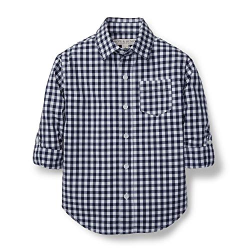 Hope & Henry Boys' Navy Gingham Woven Poplin Button Down Shirt Made with