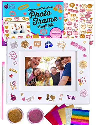 Purple Ladybug Design Your Own Picture Frame Craft Kit for Girls - Great Holiday or Birthday Gift for Girl, Fun DIY Arts and Crafts Activity for Kids - with Glitters, Foil Transfers, & Trendy Designs