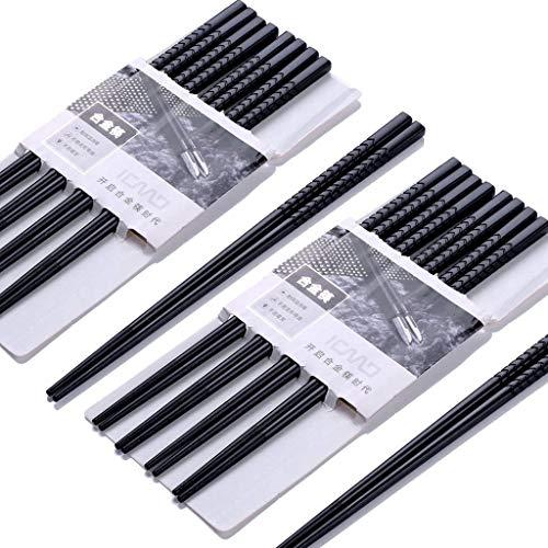 Haosell EssStäbchen 10 Paar - Japanische Chopsticks Schwarz chinesische stäbchen Alloy Chopsticks Stäbchen für Asiatisches Geschirr Wiederverwendbare EssstäBchen Waschbar FüR GeschirrspüLer (aw01)