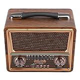 Radio Radio de madera portátil 110/220V ajustable FM/AM/SW Radio portátil de madera inalámbrico Bluetooth altavoz recargable(yo)