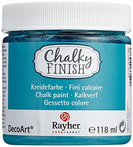 Rayher 38867390 Chalky Finish auf Wasser-Basis, Kreide-Farbe für Shabby-Chic-, Vintage- und Landhaus-Stil-Looks, 118 ml, lagune