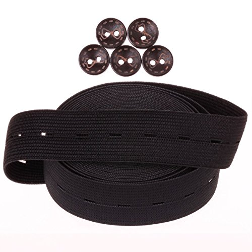 COTOWIN 1 Inch Wide Black Buttonhole Elastic 5 Yards