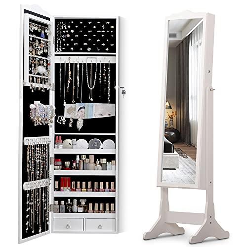 LVSOMT gabinete de joyería de pie, gabinete de joyería de espejo de lujo con espejo extra grande, gabinete de espejo con cerradura, gabinete de espejo de joyería