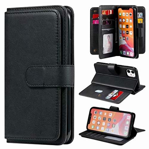 Kompatible für Handyhülle Nokia 5.4 Hülle Wallet Book Case Cover PU Leder Tasche Mit 10 Kartenfach Flipcase Schutzhülle Handytasche Skin Ständer Klapphülle Schale Bumper Etui Schwarz