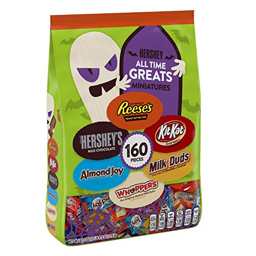 HERSHEY's Halloween Candy, (REESE'S, HERSHEY'S, ALMOND JOY, KIT KAT, WHOPPERS, MILK DUDS), All Time Greats assortment, 160 Pieces, 52.3 oz
