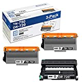 2 TN750 HighYield Toner Cartridge and 1 DR720 Drum Unit Compatible TN-750 DR-720 Replacement for Brother MFC-8710DW 8910DW DCP-8110DN hl-5450DN 5470DW/DWT Printer