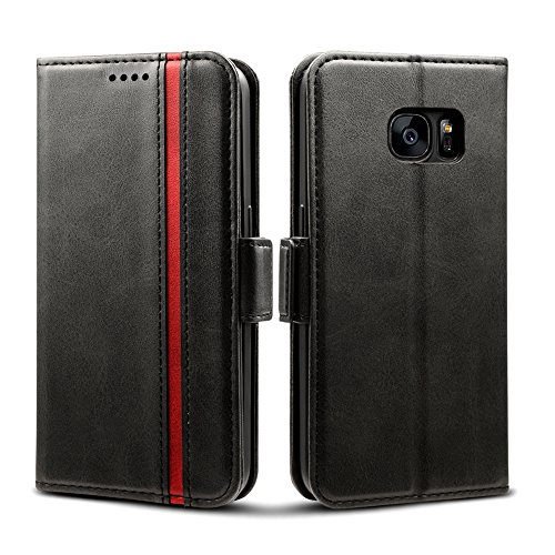 Rssviss Samsung Galaxy S7 Hülle, Handyhülle Galaxy S7 mit Kartenfach, Samsung S7 Handy Schutzhülle/Klapphülle, Lederhülle mit Standfunktion, Ledertasche für Samsung Galaxy S7 5,1