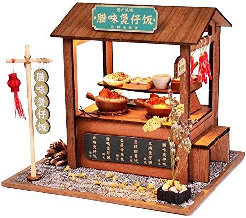 BJINDH Miniatura China Snack Bar Modelo Modelo Puzzle Juguete DIY Casa de Macura de Madera con Muebles Luz Luz Luz Juguete Interior Decoración Interior Decoración Adornos