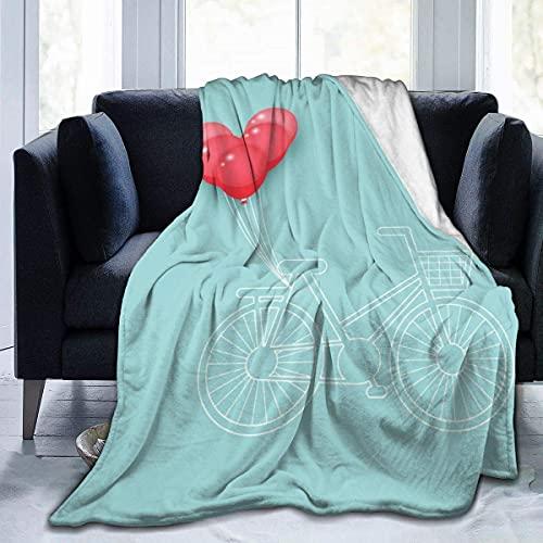 Manta para bicicleta de globo rojo, súper suave, cómoda, de forro polar, manta decorativa, ligera y acogedora para sofá cama A577