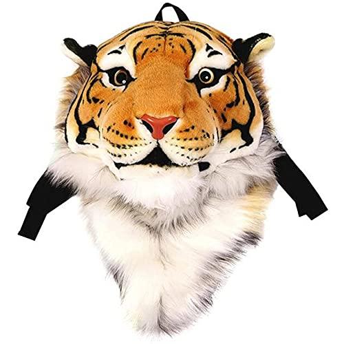 Peluche Zaino Vita Reale Tigre Leone Panda Testa Backpacker Scuola Animali Borse Farcito Sacchetto Giocattoli Regali Di Compleanno Di Natale, Yellow Tiger Large, large