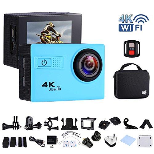 Action Camera WiFi Full HD Cam impermeabile subacquea 30m con 2.4G telecomando, grandangolare 170°, schermo LCD da 5,1cm, kit di 20accessori