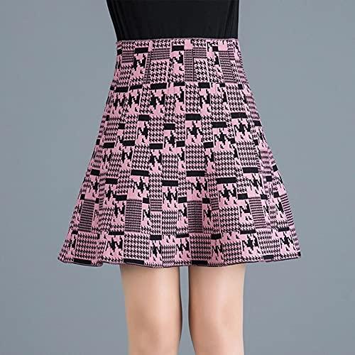 MWLSW Falda Tenis Plisada Plisada Cintura Alta Corta Coreana para Mujer Falda Pata Gallo para Mujer Falda a Cuadros Punto Falda Cintura Alta para Mujer Falda línea A-XXL