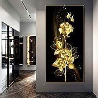 モダンアートポスタープリントエレガントなロータスキャンバス絵画壁アート写真リビングルーム通路家の装飾-70x140cmフレームなし