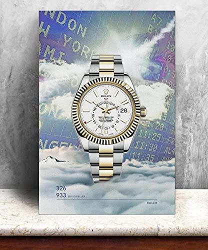 Aawerzhonda Póster de Lienzo Relojes Rolex para Hombre imágenes HD Lienzo Pintura de Baiyun Carteles artísticos de Pared impresión decoración del hogar para Sala de Estar Moderna 60x90cm
