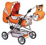 Puppenwagen 2 in 1 zum Buggy umbaubar mit Wickeltasche uvm orange