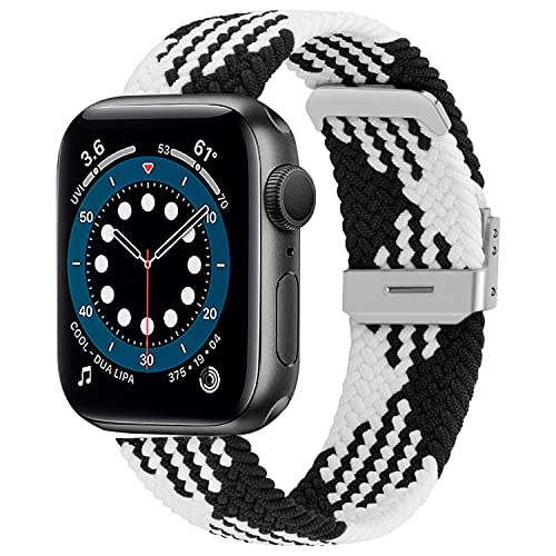 Woslimi Braided Solo Band Compatible with Apple Watch 42mm 44mm, Soft Stretch Loop with Adjustable Buckle Sport Elastics Strap Compatible with iWatch Series SE 6/5/4/3/2/1 (Black+White)