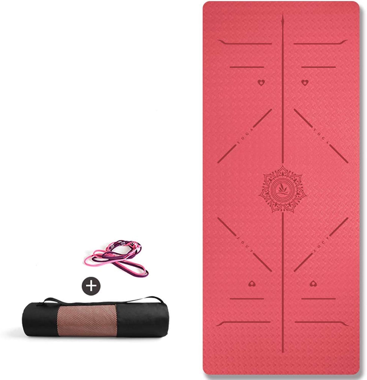 DLJFU - Yogamatte Yoga-Matte mit Tragegriff Pilates Gym Fitness übung verdicken High Density Large Gepolsterte TPE-Matte (Farbe   H, Größe   6MM)