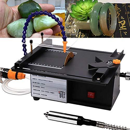 InLoveArts Schmuck Poliermaschine, 1600-3300 U/min Einstellbar 7-Gang Multifunktionales Schmuckpolier-Tischkreissägen Maschine, mit Wasserkühlrohrpolierer für Gem Wood Green Pine