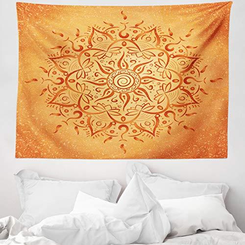 ABAKUHAUS Hoja Tapiz de Pared y Cubrecama Suave, Naranja Árabe Mandala, Material Resistente, 150 x 110 cm, Naranja