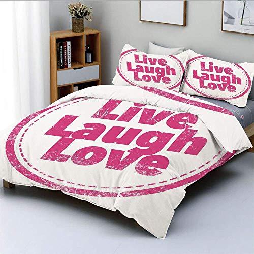 Juego de funda nórdica, sello de estilo de vida motivacional, linda ilustración de arte retro grunge, juego de cama decorativo de 3 piezas con 2 fundas de almohada, rosa intenso, blanco, el mejor rega