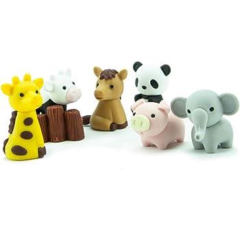 Novelty Japanese IWAKO Zoo Puzzle Eraser Rubbers Set