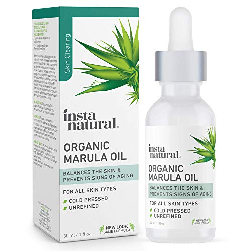 Organic Marula Facial Oil - 100% Pure, Non GMO, Cold Pressed, Unrefined, Moisturizing and Balancing for Hair, Body, Hands or Cuticle & Normal to Oily Skin - Complete Organics by InstaNatural - 1 oz