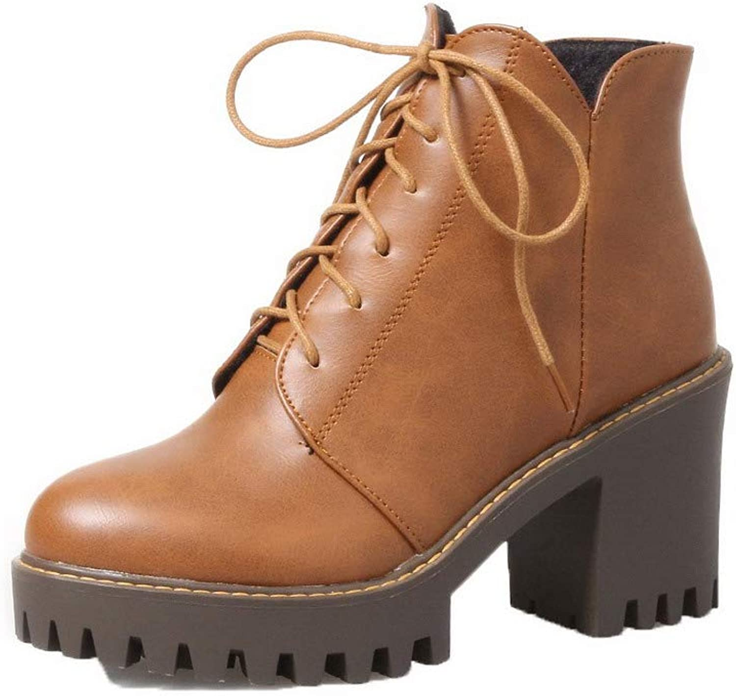 WeiPoot Women's Pu Closed-Toe Solid Low-Top High-Heels Boots, EGHXH127221