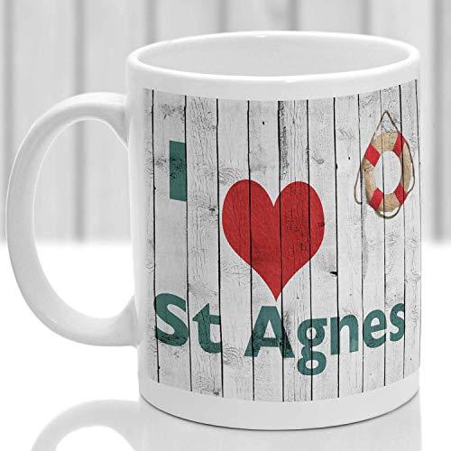DKISEE Taza de café blanco de 325 ml con texto en inglés 'I Love St Agnes, regalo para recordar Cornwall en casa oficina taza de té