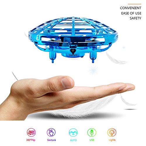 UFO Drone Flying Ball Gesture Control for Kids, 2.4G RC Quadcopter Aircraft Smart Watch Hand Controlled 360°Rotating Flying Toys Mini Drone with LED Lights Altitude Hold for Adults Beginners
